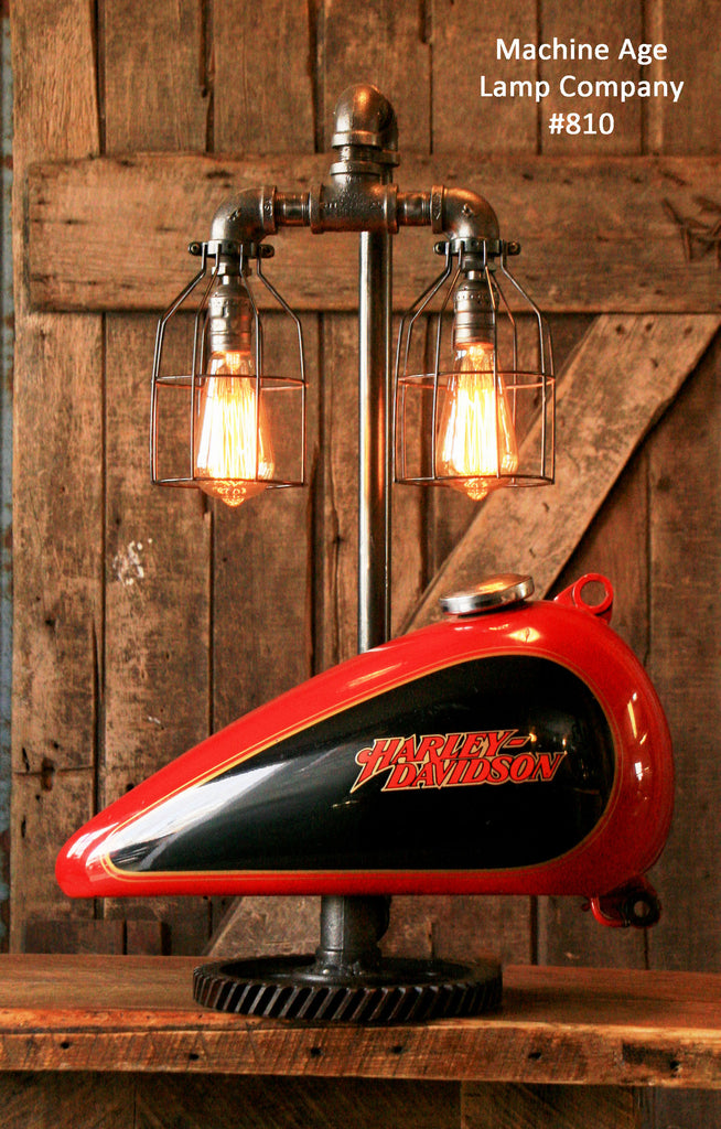 Steampunk Industrial Lamp, Re/Purposed Harley Davidson Motorcycle Gas Tank -  #810 SOLD