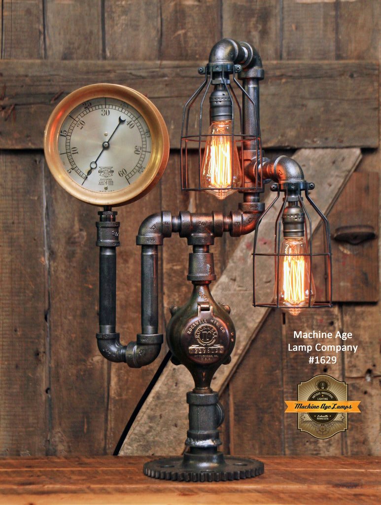 Steampunk Industrial / Gear Base / Antique Brass Steam Gauge / Lamp / Light / #1629 - Sold