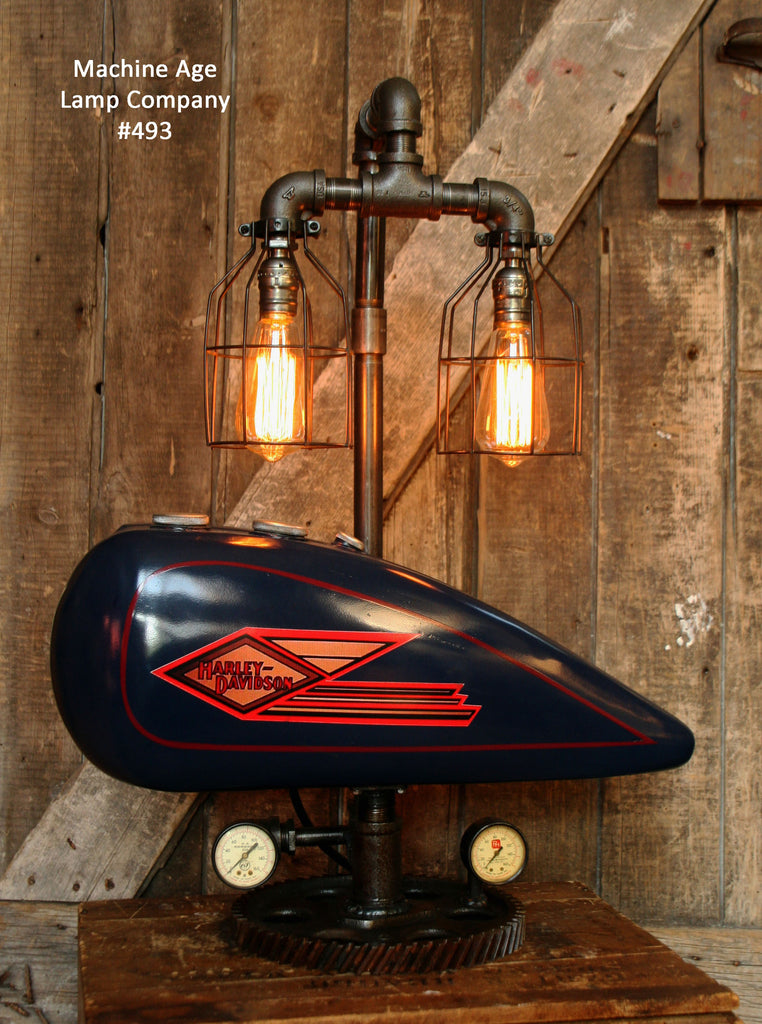 Industrial Lamp, Antique 1935 Harley Davidson Motorcycle Gas Tank #493 - SOLD