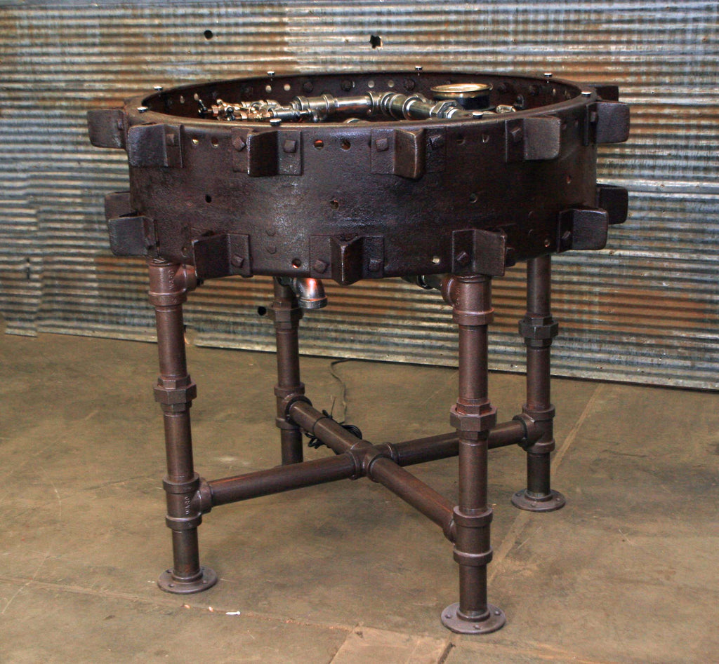 Steampunk Industrial Table Farm / Antique  Farmall F-20 tractor wheel Pub Table / #dc119