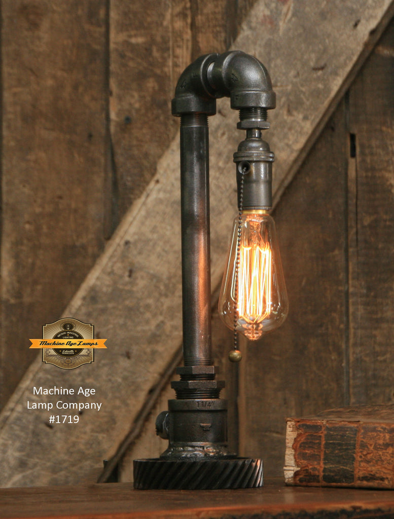 Steampunk Industrial / Pipe Lamp Light / Tractor Gear Base / Lamp #1719