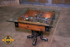 Steampunk Antique Industrial / Coffee Table / Barn Wood / Steam Gauge  #2718