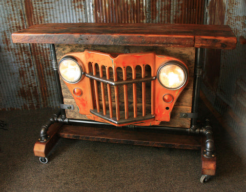 Steampunk Industrial, Barn Wood, Jeep Willys Grill Pub Console Table Hostess Station- #890