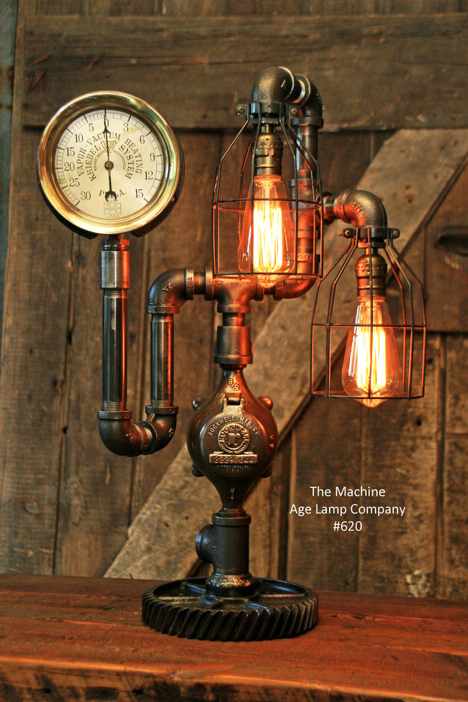 Steampunk Industrial Steam Gauge Lamp, #620 - SOLD