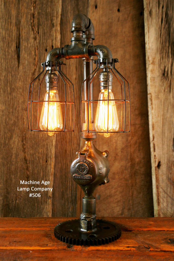 & Steampunk Lamp Antique Steam and Gear Base #506