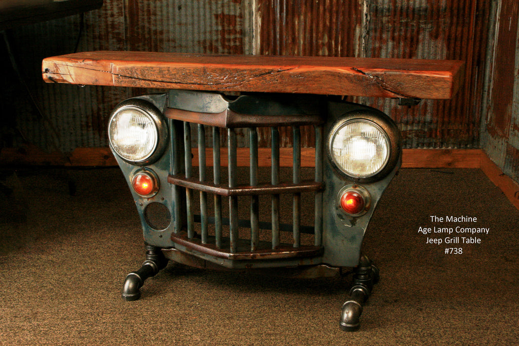 Industrial Antique Jeep CJ Military Willys Grille Table Or