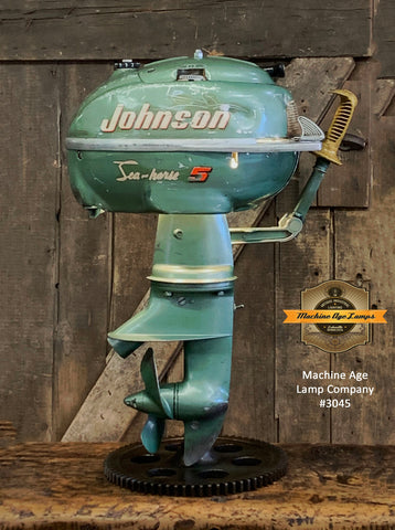Steampunk Industrial / Antique Johnson Boat Motor / Nautical / Marine / Cabin / Lamp #3045