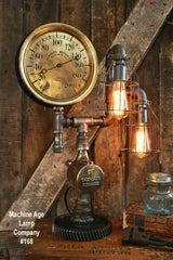 Steampunk Lamp W/ Antique Industrail Steam Gauge #168 - SOLD