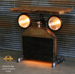 Steampunk Industrial Table / Antique Ford Model T Radiator and Headlamps / Barnwood / Table #1906