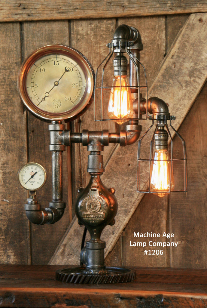 Steampunk Industrial Steam Gauge Lamp, #1206 -sold