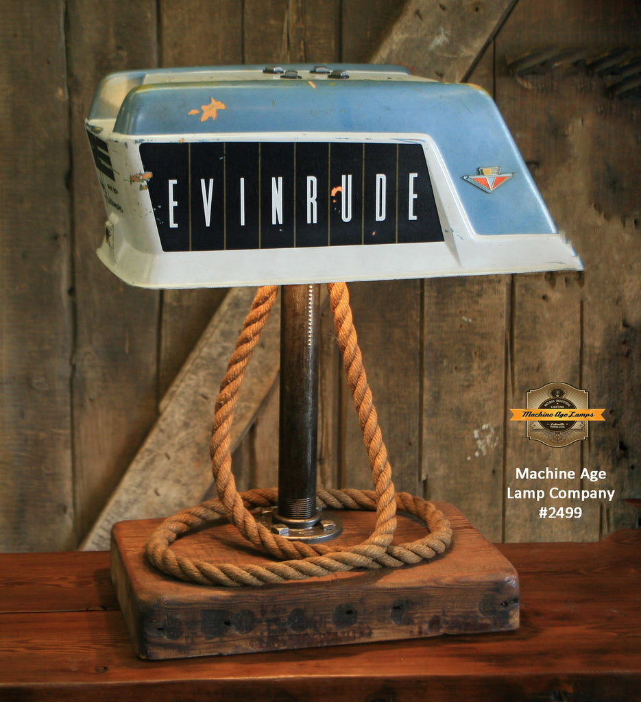 Steampunk Industrial / Antique Evinrude Boat Motor / Nautical / Marine / Cabin / Lamp #2499