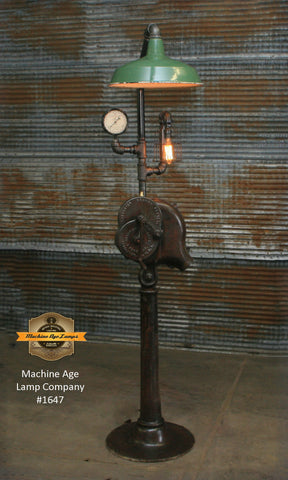 Steampunk Industrial Floor Lamp / Antique Blacksmith Blower / Lancaster PA / Lamp #1647