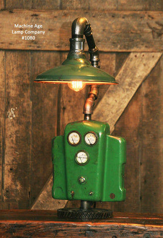 Steampunk Industrial John Deere Lamp, Farm Tractor Barn Green Shade #1080