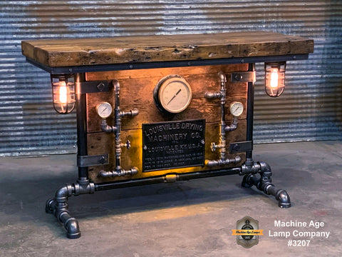 Steampunk Industrial Table / Pub, sofa console / Antique Furnace Door / Steam Gauge / Barnwood / Table #3207