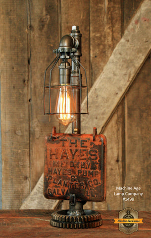 Steampunk Industrial Farm / Hayes Pump Planter Cover Lamp / Ill / Lamp #1499
