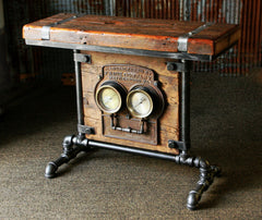 Steampunk Industrial Barn Wood Antique Gauge Board Stand Table #835 - SOLD