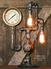 "Steampunk Industrial 7"" Steam Gauge Lamp , Gear Base #1092"