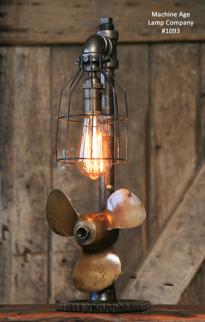 Steampunk Industrial Boat Marine Nautical Antique Brass Propeller Lamp, Gear Base # sold