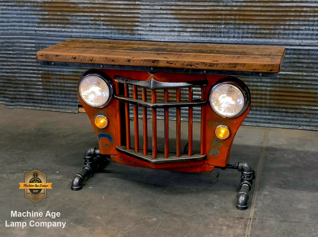 Steampunk Industrial / Automotive / Original vintage 50's Jeep Willys Grille / Table Sofa Hallway / Orange / Table #2723