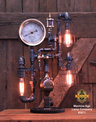 Steampunk Industrial / Steam Gauge Lamp / Gear / Ohio / Oiler / Lamp #3071