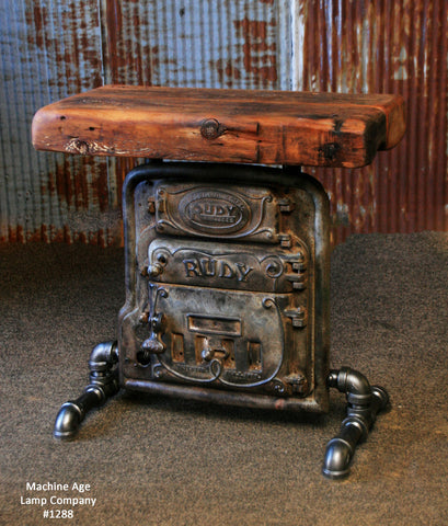 Steampunk Industrial Table / Console / Boiler Door / Barn Wood / Hallway / #1288