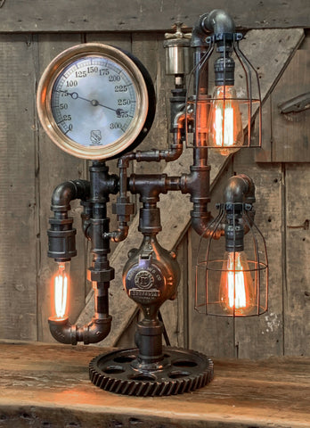 "Steampunk Industrial / 8"" Steam Gauge / Gear  / Gear Base / Lamp #2567"
