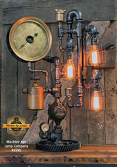 Steampunk Industrial / Steam Gauge Lamp / Kewanee Boiler  / Oiler / Lamp #2995