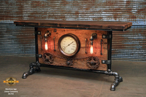 Steampunk Industrial Table, Lamp Stand, Console, Barn wood & Steam Gauge - #1733