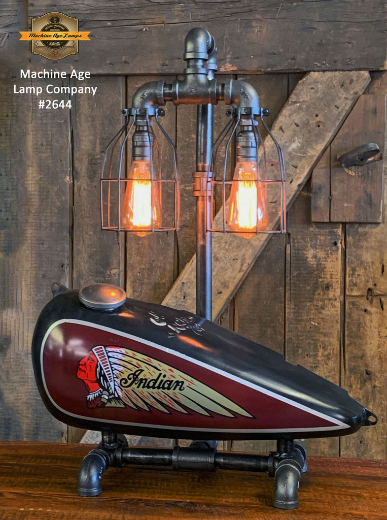 Steampunk Industrial / 1930's Indian Scout Gas Tank Lamp / Motorcycle Lamp #2544 sold
