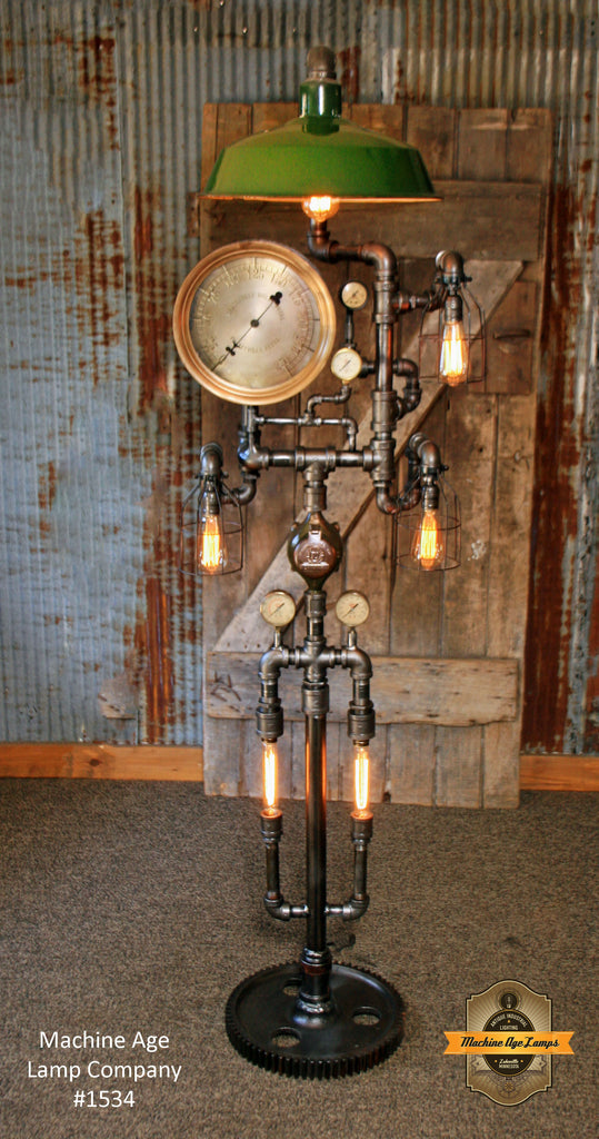 Steampunk industrial floor lamp green shade antique for Antique floor lamp with clock