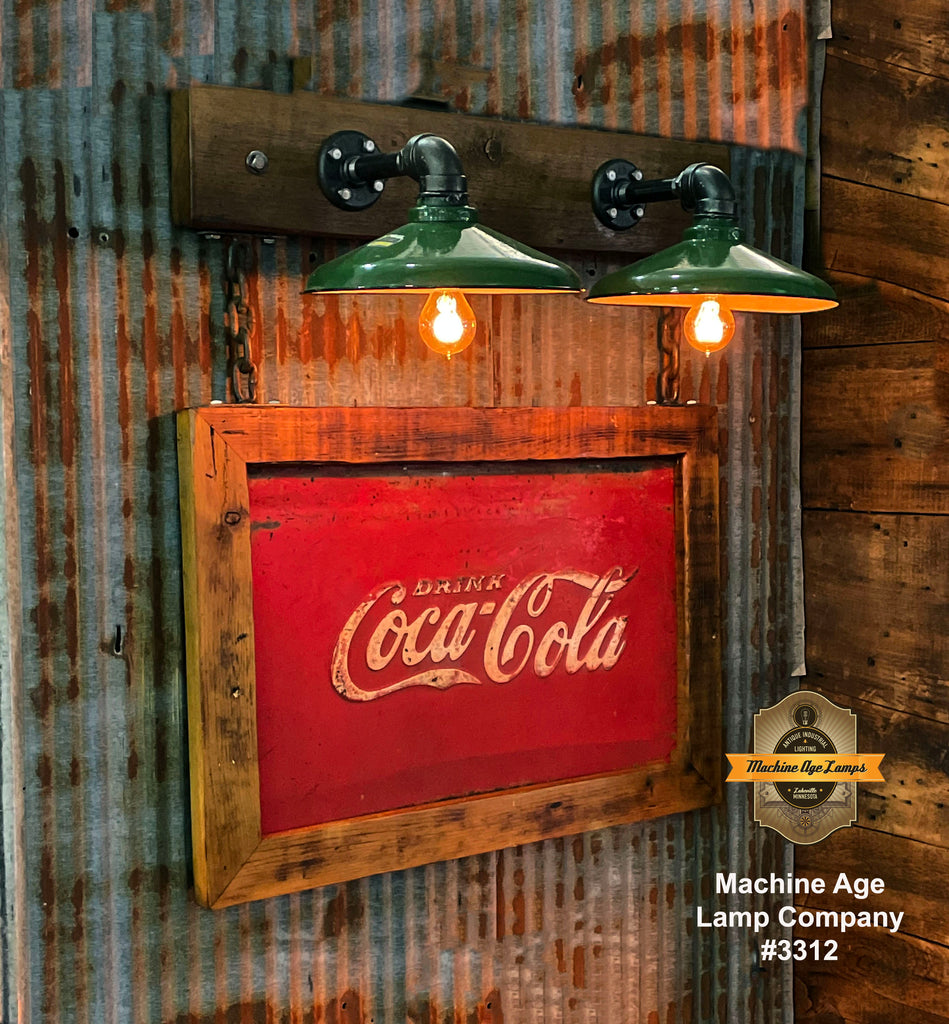 Steampunk Industrial Wall Sconce / Antique Coke Cola Sign  / Lamp #3312