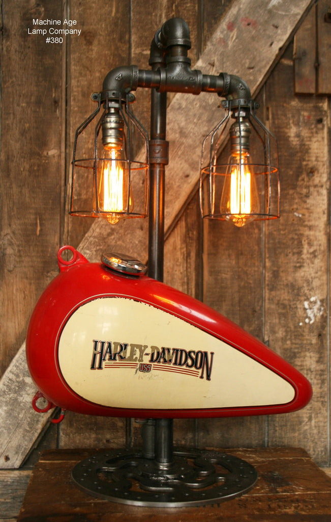 Steampunk Industrial Lamp, Harley Davidson Motorcycle Gas Tank #380   SOLD