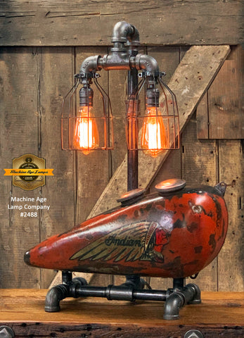 Steampunk Industrial / 1930's Indian Scout Gas Tank Lamp / Motorcycle Lamp #2488 sold