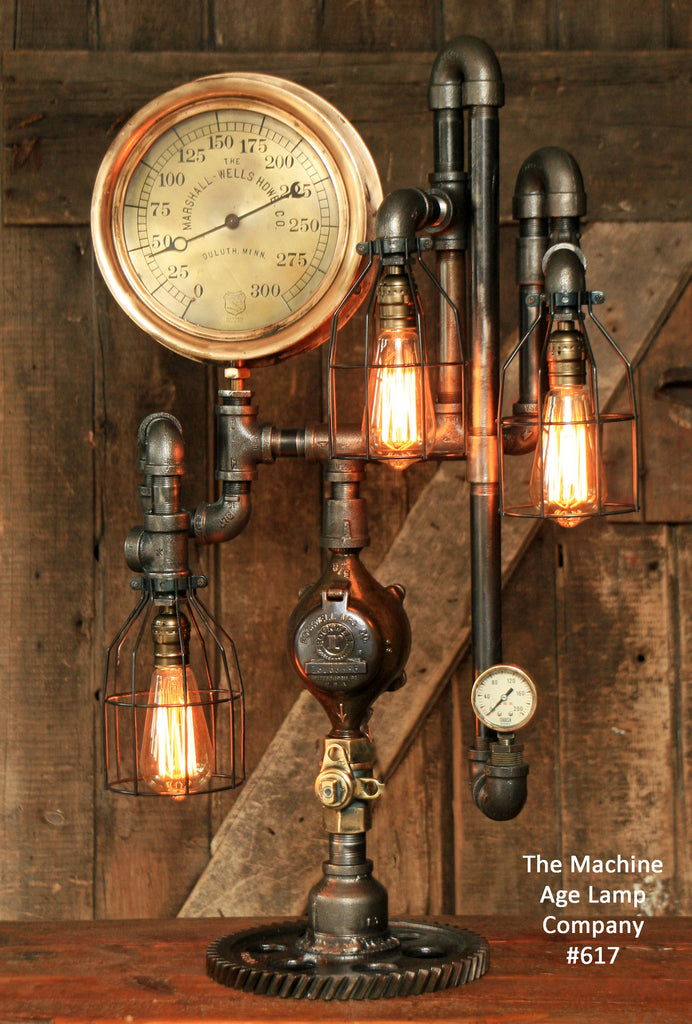 Steampunk Industrial Steam Gauge lamp,  #617