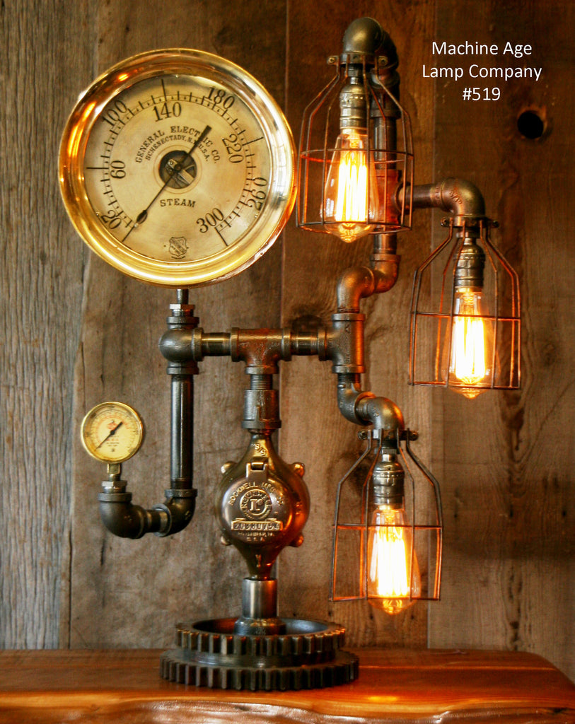 "Steampunk Lamp, Amazing Antique 10"" Steam Gauge and Gear Base #519 - SOLD"