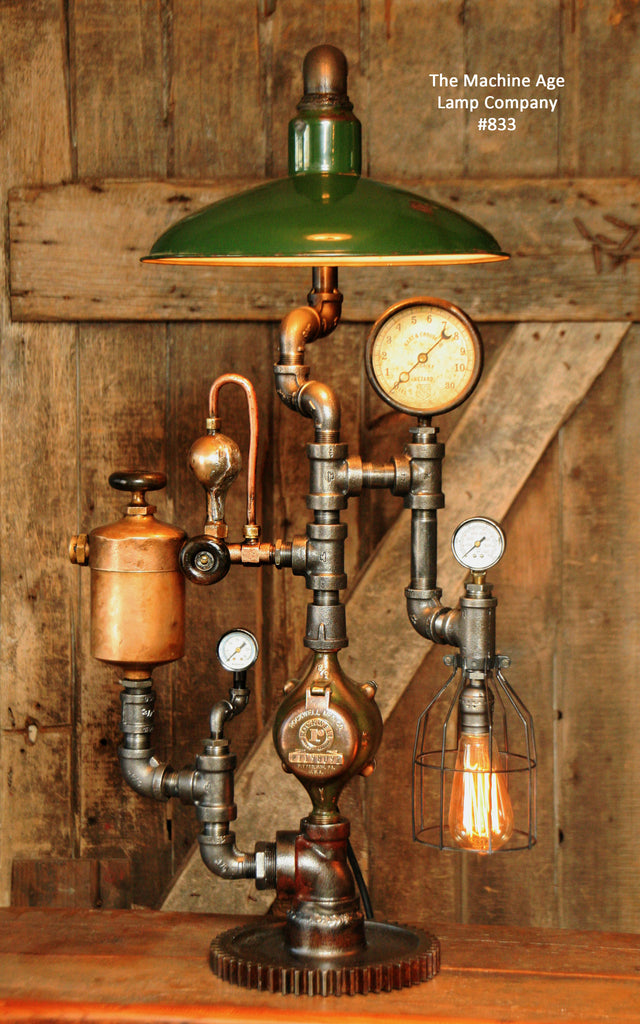 steampunk industrial lamp vintage oiler amp green shade 1074