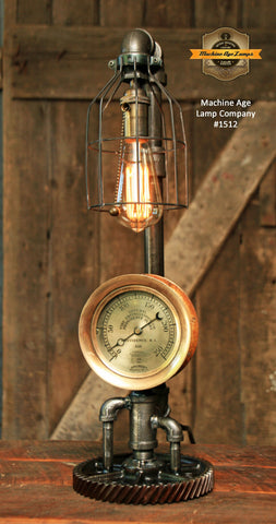 Steampunk Industrial Lamp / Steam Gauge Fire / Providence RI / Lamp #1512