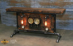 Steampunk Industrial, Barn wood and Iron Frick Co Steam Gauge Table,   #1828 sold