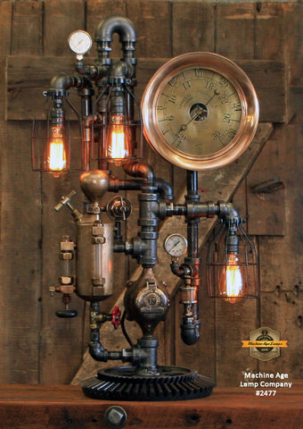 Steampunk Industrial / Steam Gauge Lamp / General Electric / Oiler / Lamp #2477