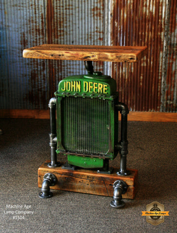 Antique Steampunk Industrial Table Stand, Hostess Station, Pub Table, Reclaimed Wood Top,John Deere #1504