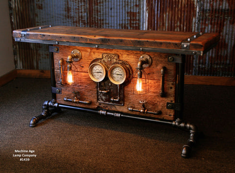 Steampunk Industrial / Table / Barn wood / Steam Gauge / York #1439 - SOLD