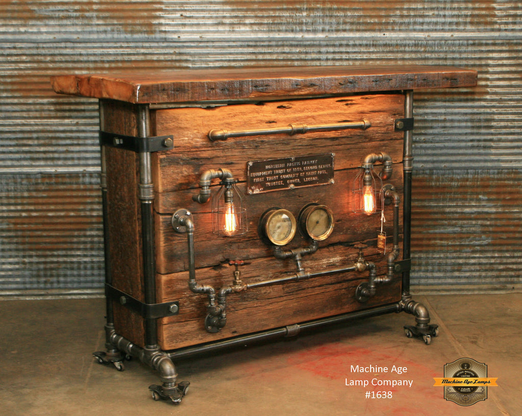 Steampunk industrial bar railroad hostess stand for Stand pub