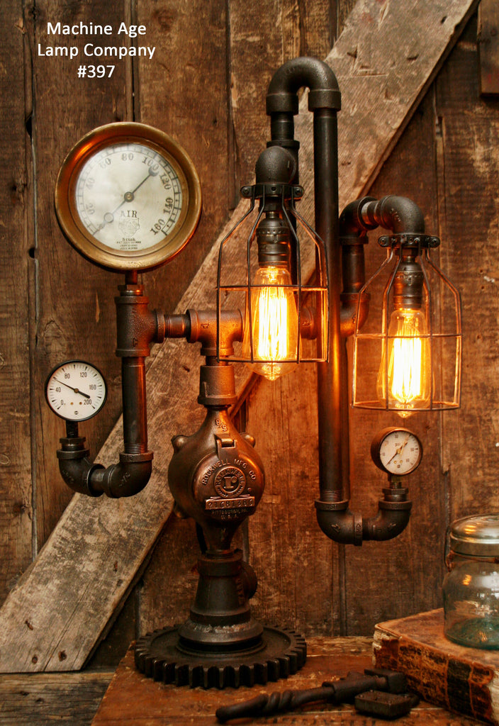 Steampunk Lamp, Antique Steam Gauge and Gear Base #397 - SOLD