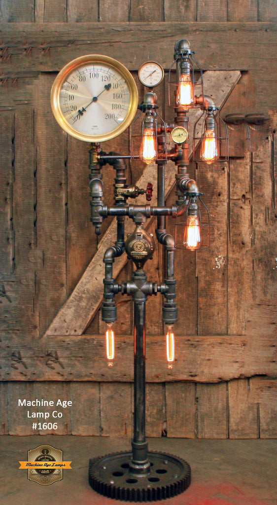 Steampunk Industrial / Antique Steam Gauge / Gear Base / Floor Lamp Light / #1606
