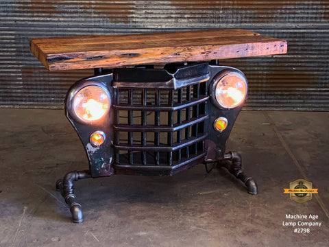 Steampunk Industrial / Automotive / Original vintage 50's Jeep Willys Grille / Table Sofa Hallway / Deep Green/Black  / Table #2798