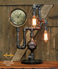 "Steampunk Industrial / Antique Steam Gauge Lamp / 7.5"" Steam Gauge / Gear / Lamp #2202 sold"