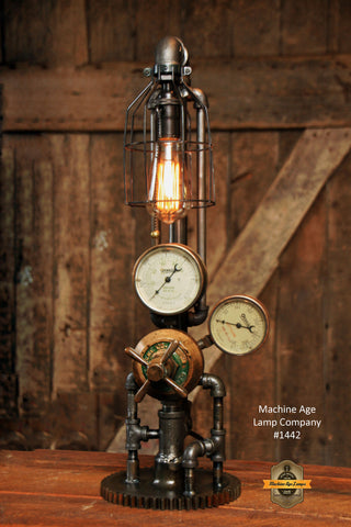 Steampunk Industrial Steam Gauge Lamp, Vintage Brass #1442