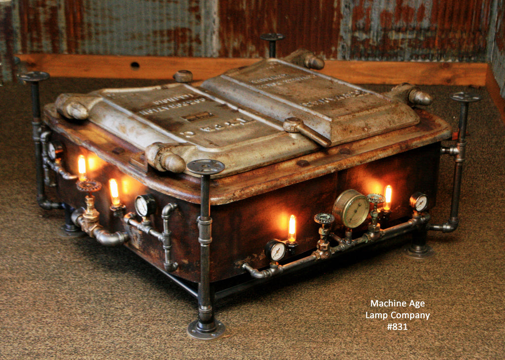 Steampunk Industrial Boiler Door Coffee Table or lamp ...