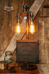 Steampunk Industrial, Antique Iron Ottenheimer Stove Door Lamp, #428 - SOLD