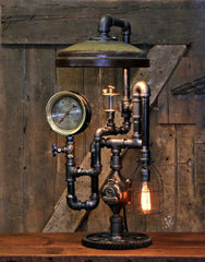 Steampunk Industrial / Antique Chicken Feeder Shade / Steam Gauge / Boston / NY L:amp #2683